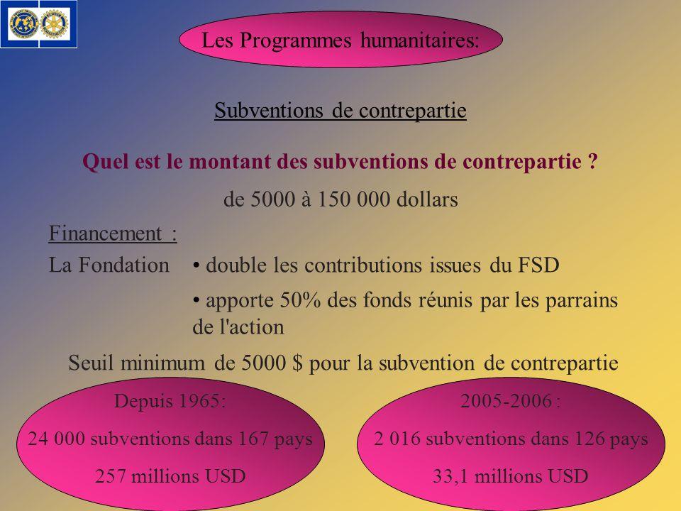 Quel est le montant des subventions de contrepartie
