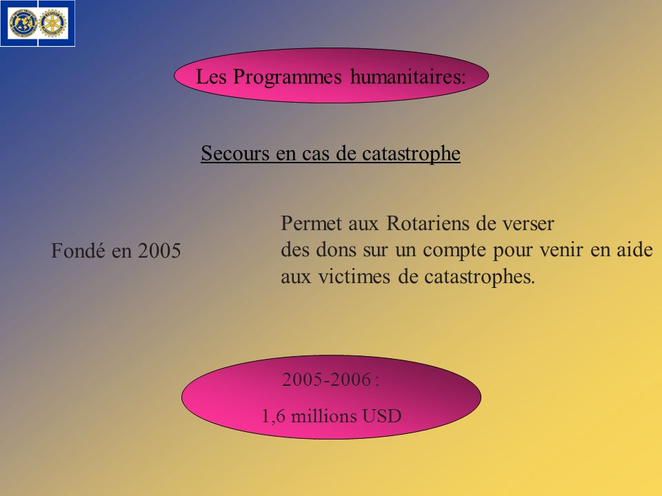Les Programmes humanitaires: