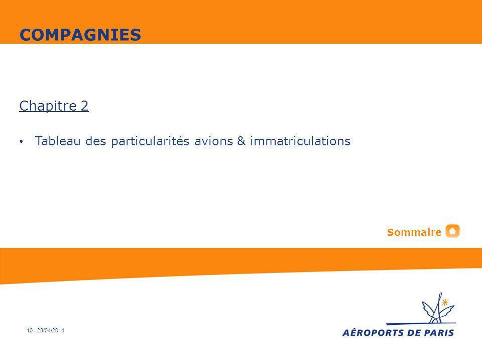 COMPAGNIES Chapitre 2 Tableau des particularités avions & immatriculations Sommaire 10 - 30/03/2017