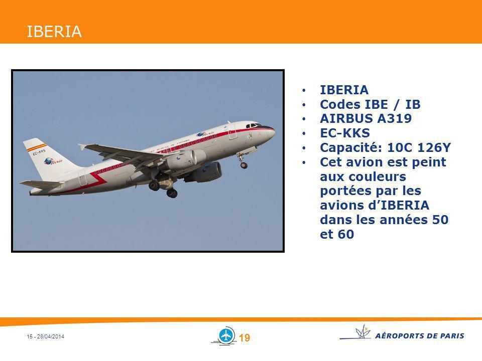 IBERIA IBERIA Codes IBE / IB AIRBUS A319 EC-KKS Capacité: 10C 126Y