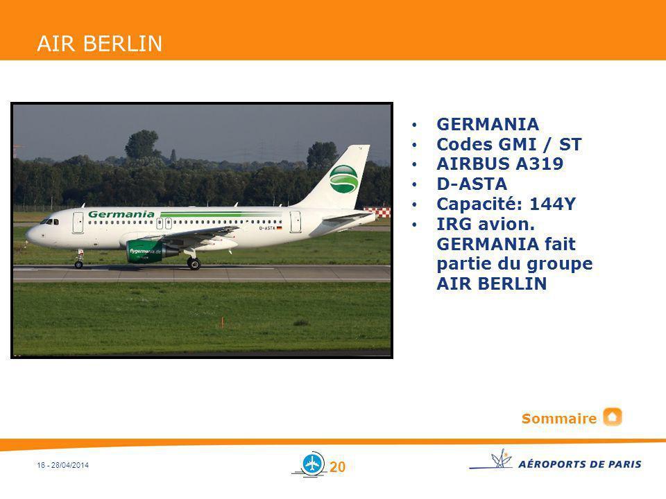 AIR BERLIN GERMANIA Codes GMI / ST AIRBUS A319 D-ASTA Capacité: 144Y