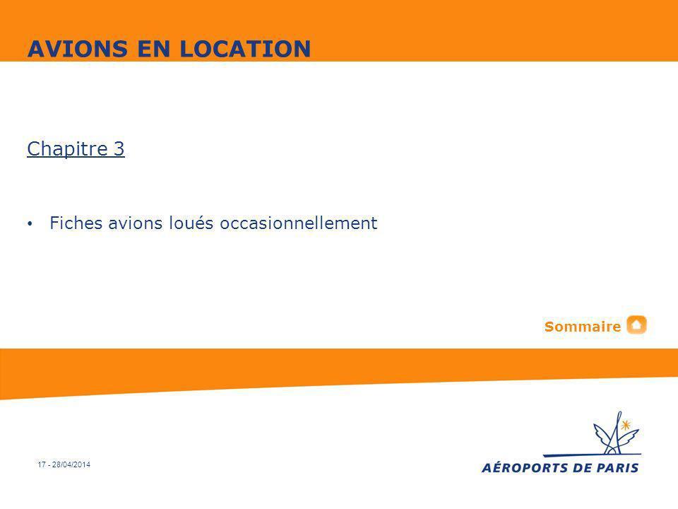 AVIONS EN LOCATION Chapitre 3 Fiches avions loués occasionnellement