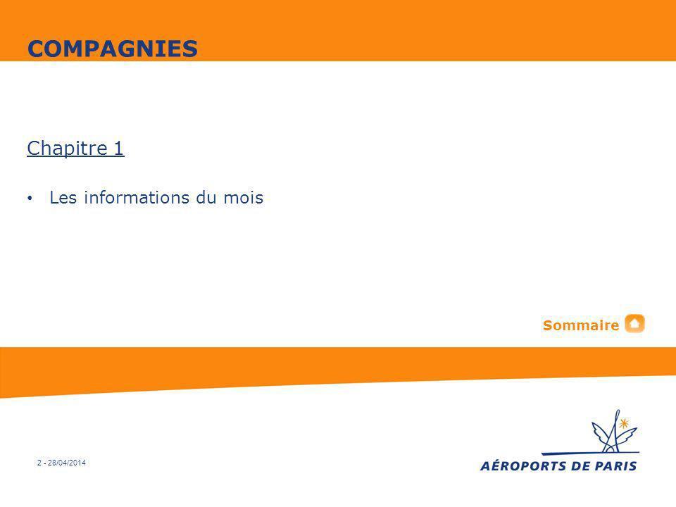 COMPAGNIES Chapitre 1 Les informations du mois Sommaire 2 - 30/03/2017