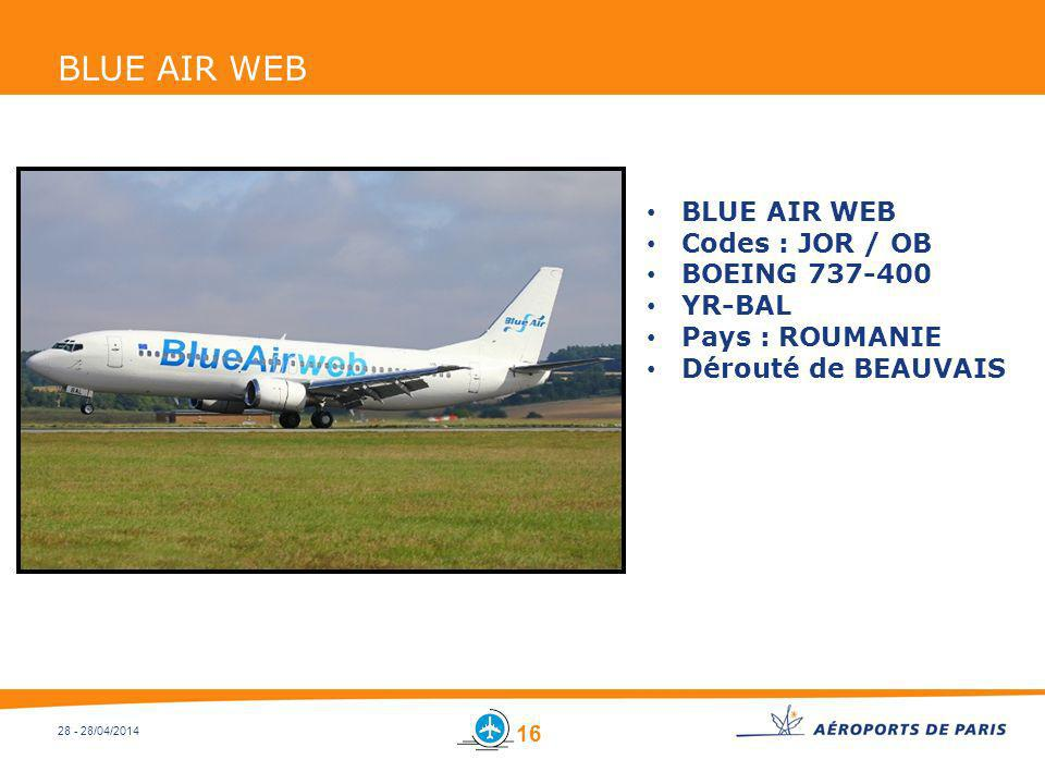 BLUE AIR WEB BLUE AIR WEB Codes : JOR / OB BOEING 737-400 YR-BAL
