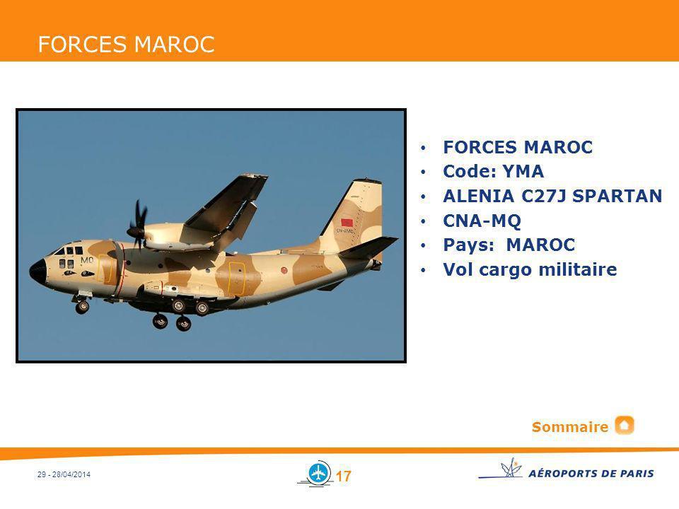 FORCES MAROC FORCES MAROC Code: YMA ALENIA C27J SPARTAN CNA-MQ