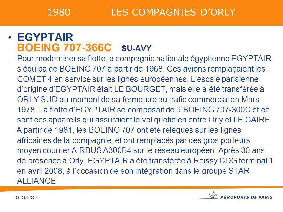 1980 LES COMPAGNIES D'ORLY EGYPTAIR.