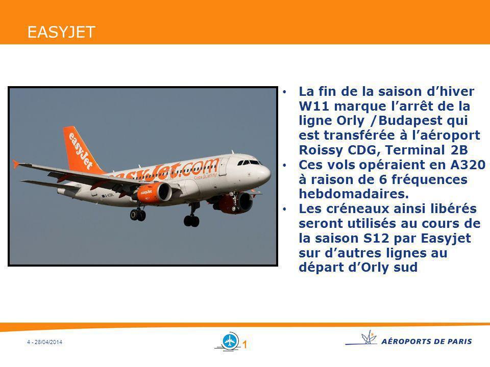 EASYJETLa fin de la saison d'hiver W11 marque l'arrêt de la ligne Orly /Budapest qui est transférée à l'aéroport Roissy CDG, Terminal 2B.