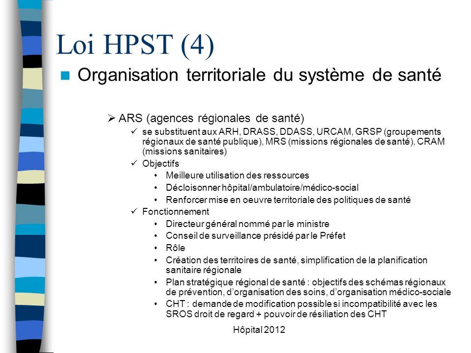 Loi HPST (4) Organisation territoriale du système de santé