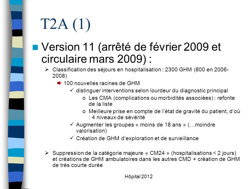 T2A (1) Version 11 (arrêté de février 2009 et circulaire mars 2009) :