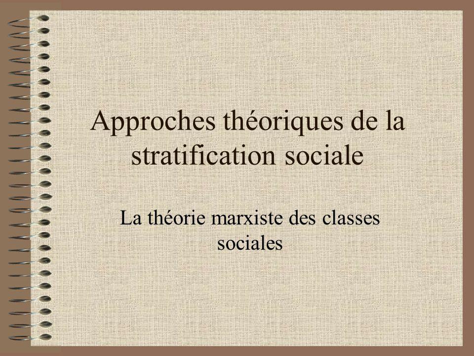 Approches théoriques de la stratification sociale