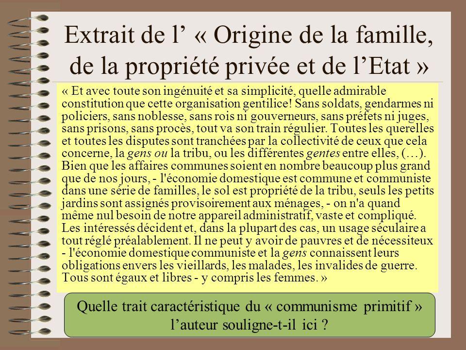 Extrait de l' « Origine de la famille, de la propriété privée et de l'Etat »
