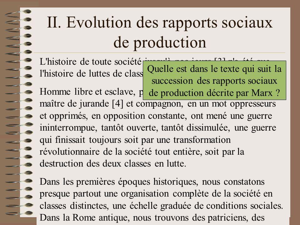 II. Evolution des rapports sociaux de production