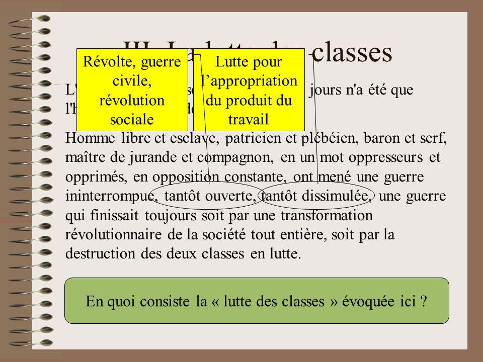 III. La lutte des classes
