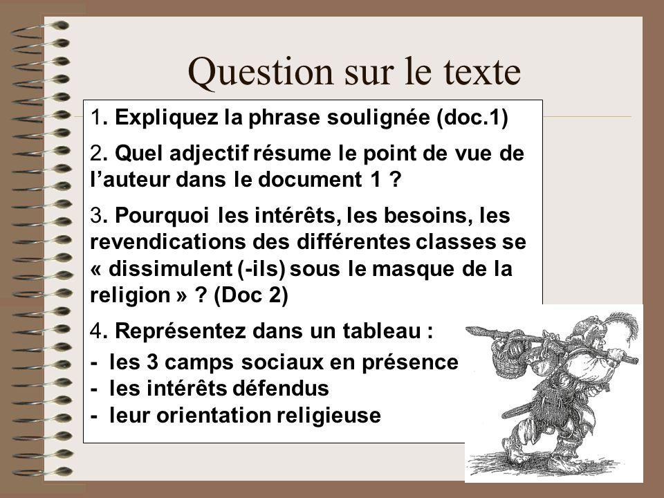 Question sur le texte . Expliquez la phrase soulignée (doc.1)