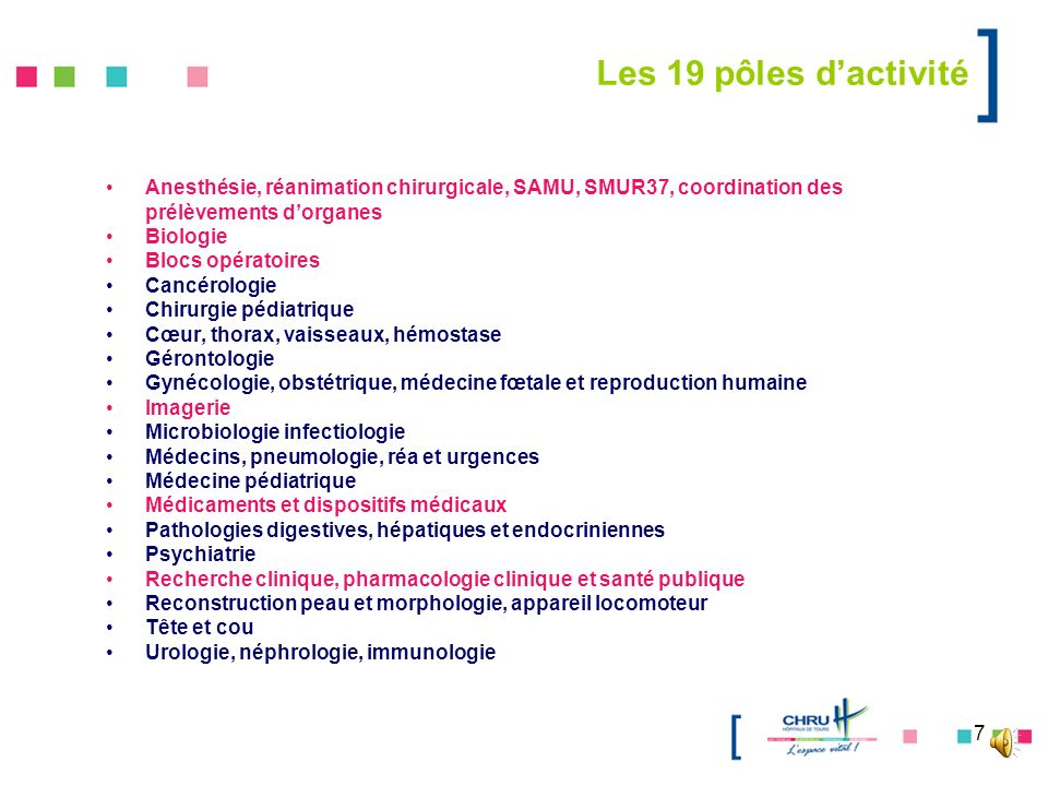 Les 19 pôles d'activité Anesthésie, réanimation chirurgicale, SAMU, SMUR37, coordination des prélèvements d'organes.