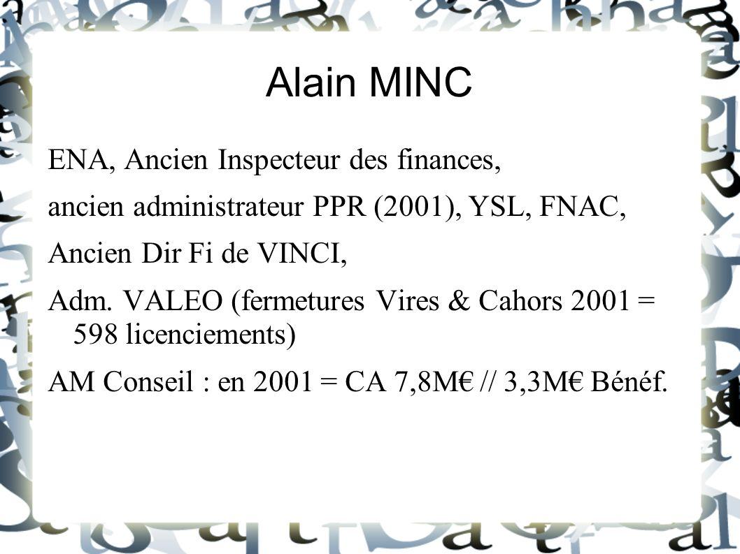 Alain MINC ENA, Ancien Inspecteur des finances,