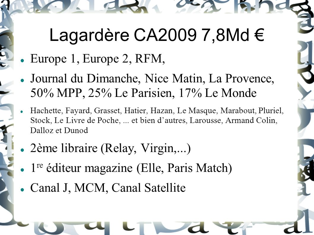 Lagardère CA2009 7,8Md € Europe 1, Europe 2, RFM,