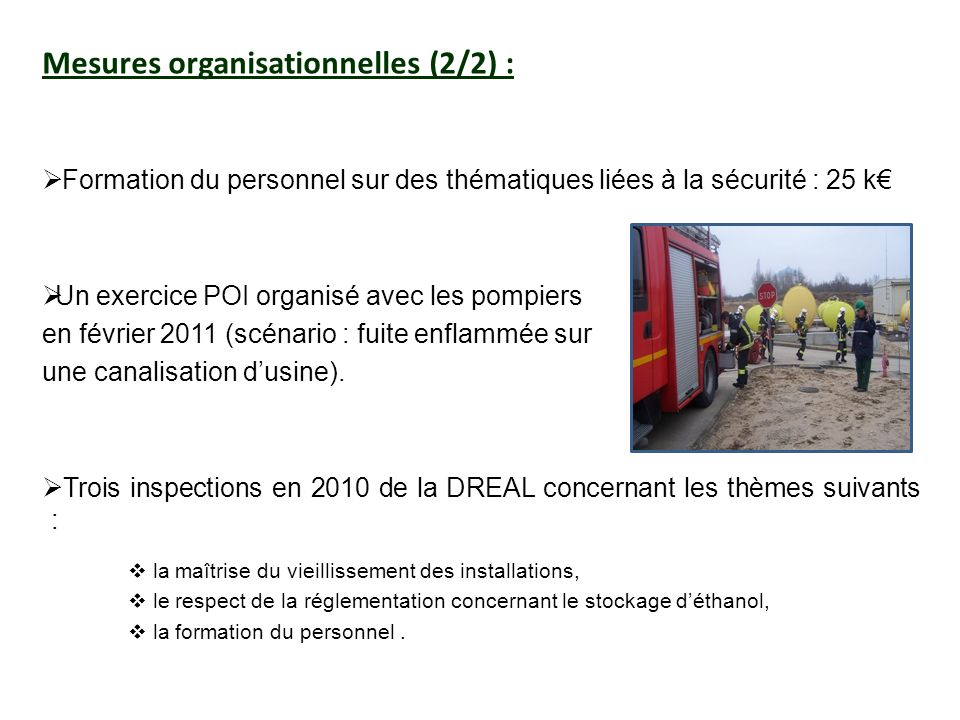 Mesures organisationnelles (2/2) :