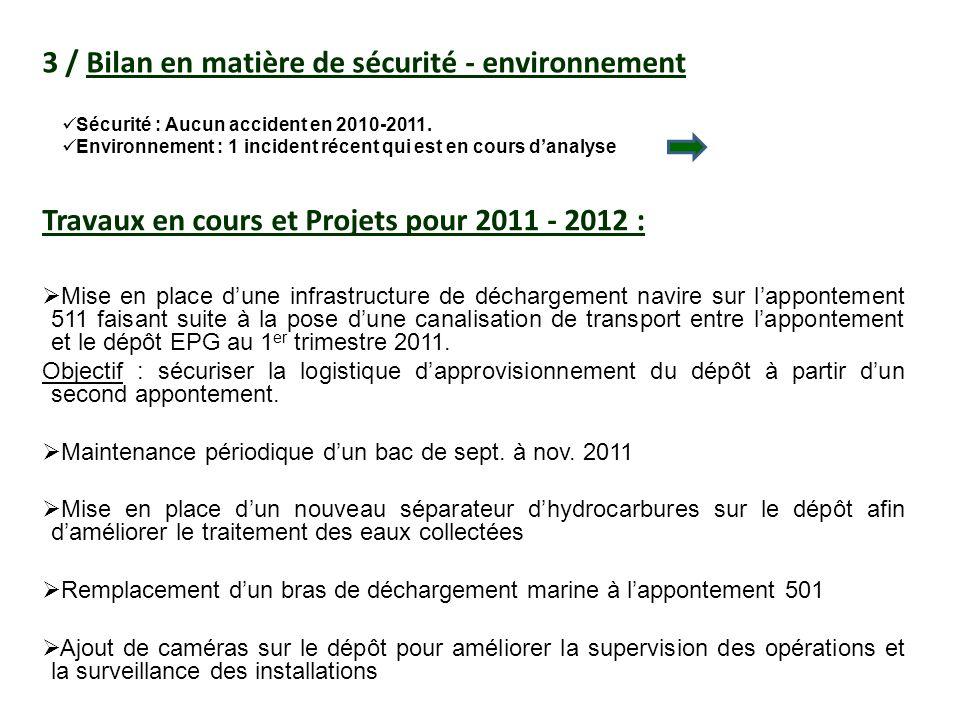 3 / Bilan en matière de sécurité - environnement