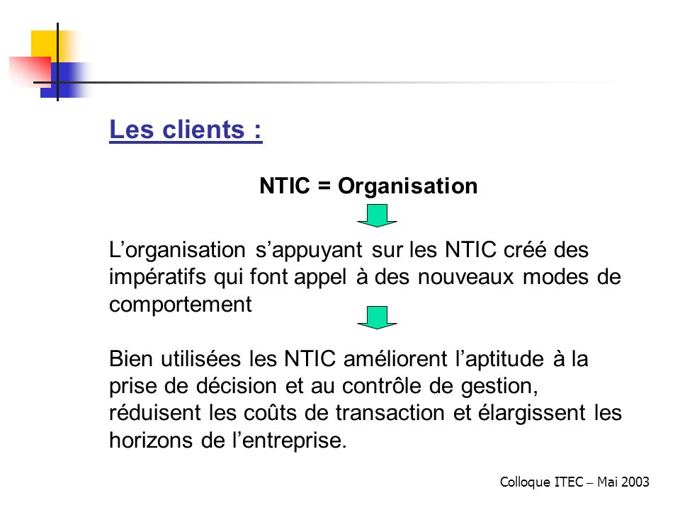 Les clients : NTIC = Organisation