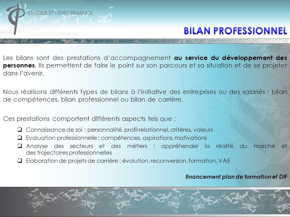 BILAN PROFESSIONNEL