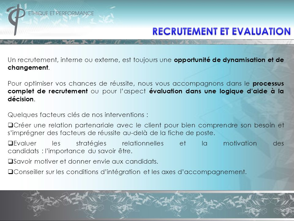 RECRUTEMENT ET EVALUATION