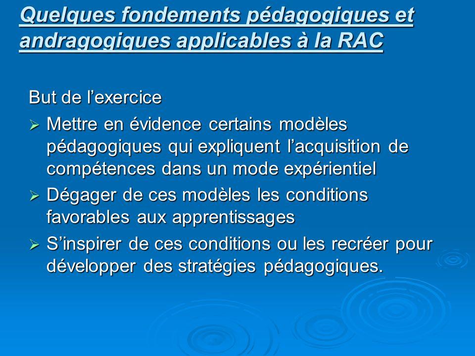 Quelques fondements pédagogiques et andragogiques applicables à la RAC