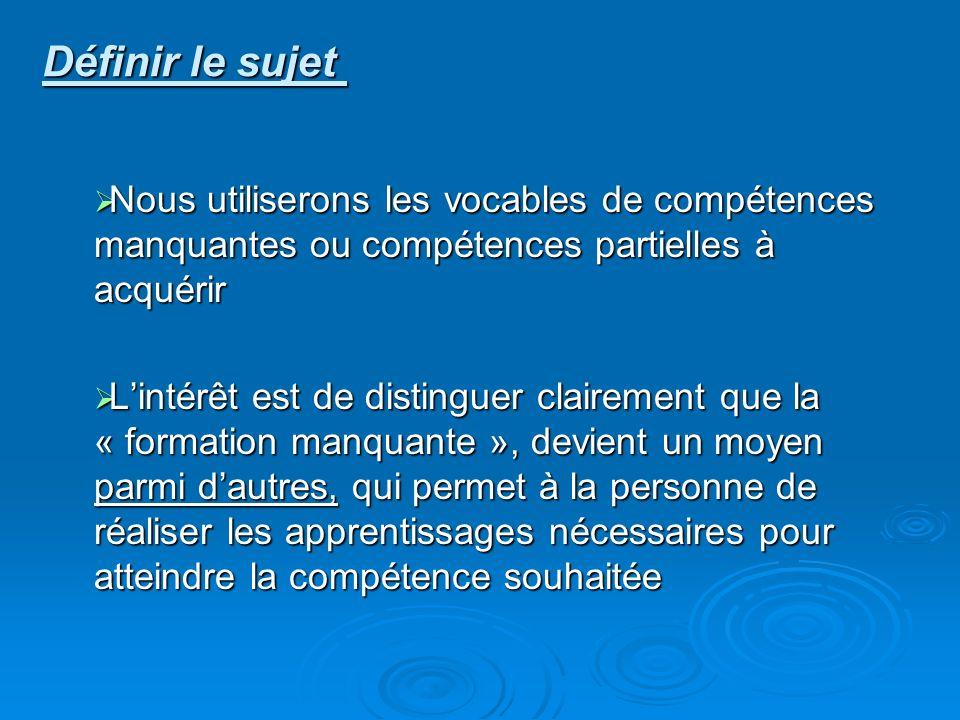 Définir le sujet Nous utiliserons les vocables de compétences manquantes ou compétences partielles à acquérir.