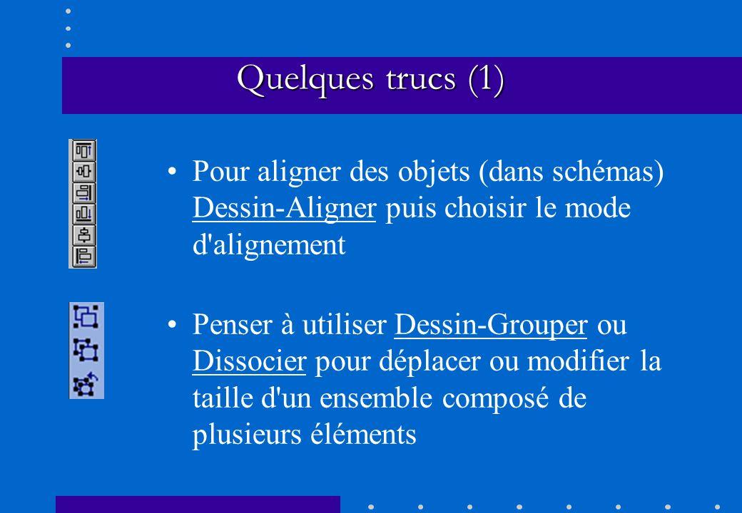 Quelques trucs (1) Pour aligner des objets (dans schémas) Dessin-Aligner puis choisir le mode d alignement.