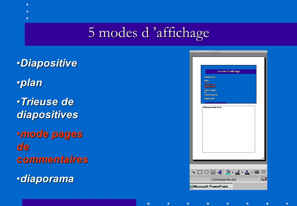 5 modes d 'affichage Diapositive plan Trieuse de diapositives