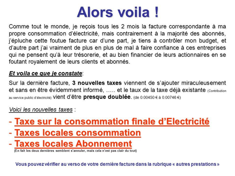 Alors voila ! Taxe sur la consommation finale d'Electricité