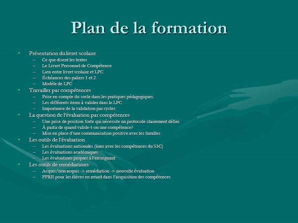 Plan de la formation Présentation du livret scolaire