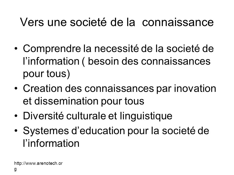 Vers une societé de la connaissance