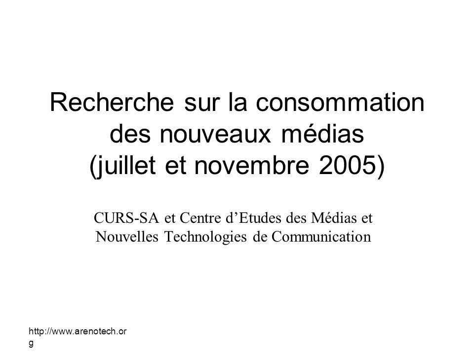 Recherche sur la consommation des nouveaux médias (juillet et novembre 2005)