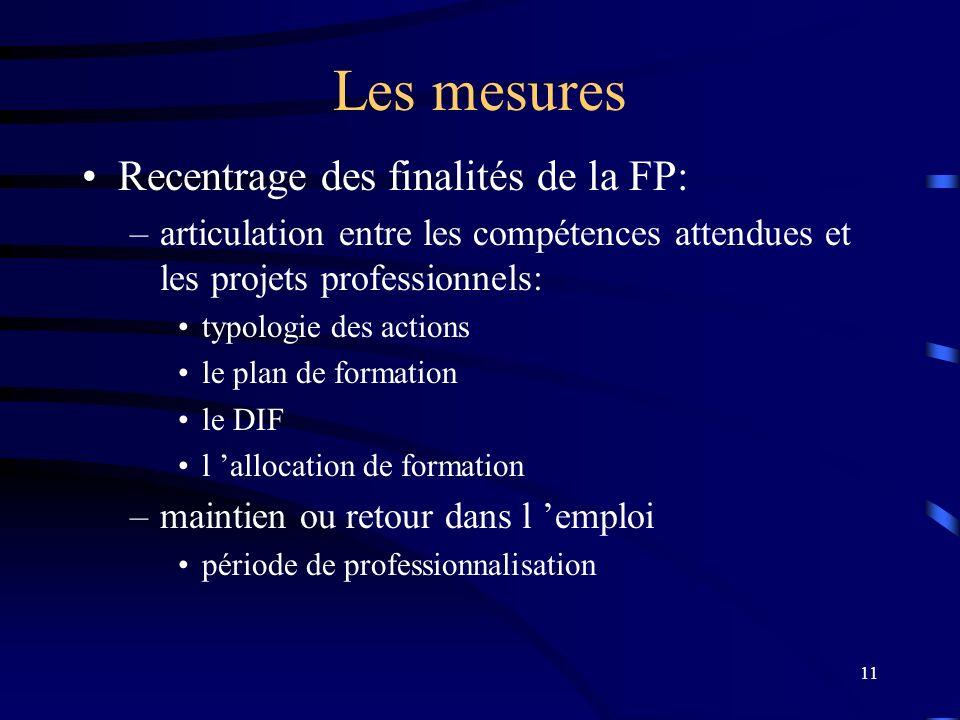 Les mesures Recentrage des finalités de la FP: