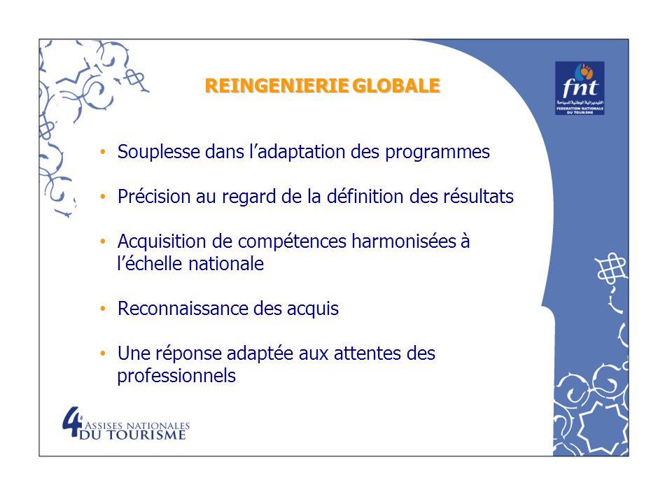 REINGENIERIE GLOBALESouplesse dans l'adaptation des programmes. Précision au regard de la définition des résultats.