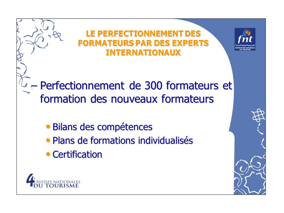 LE PERFECTIONNEMENT DES FORMATEURS PAR DES EXPERTS INTERNATIONAUX