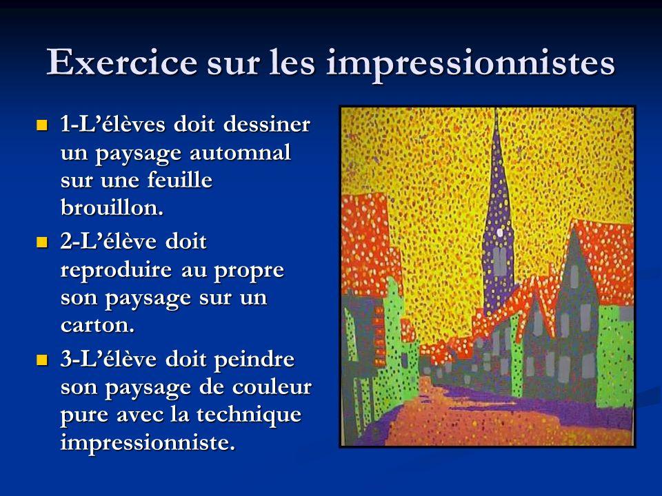 Exercice sur les impressionnistes