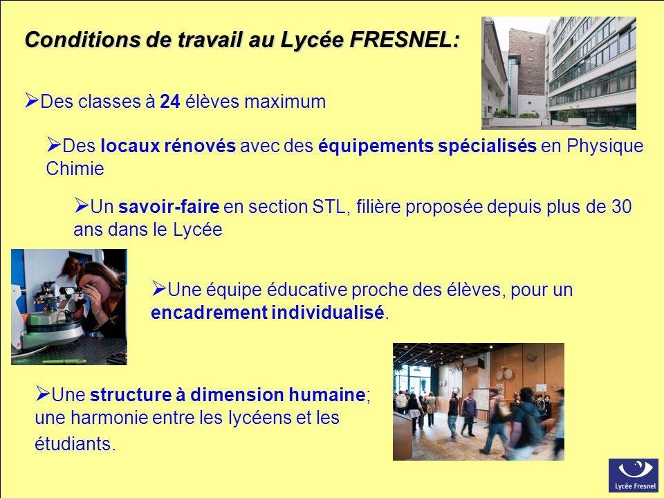 Conditions de travail au Lycée FRESNEL: