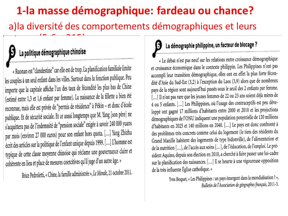 1-la masse démographique: fardeau ou chance