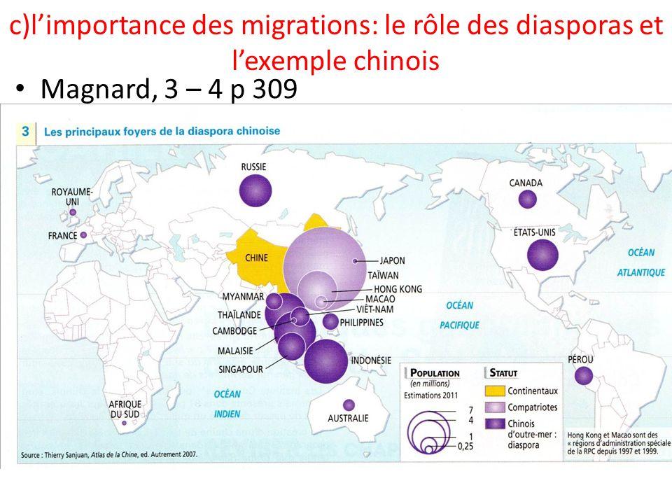 c)l'importance des migrations: le rôle des diasporas et l'exemple chinois