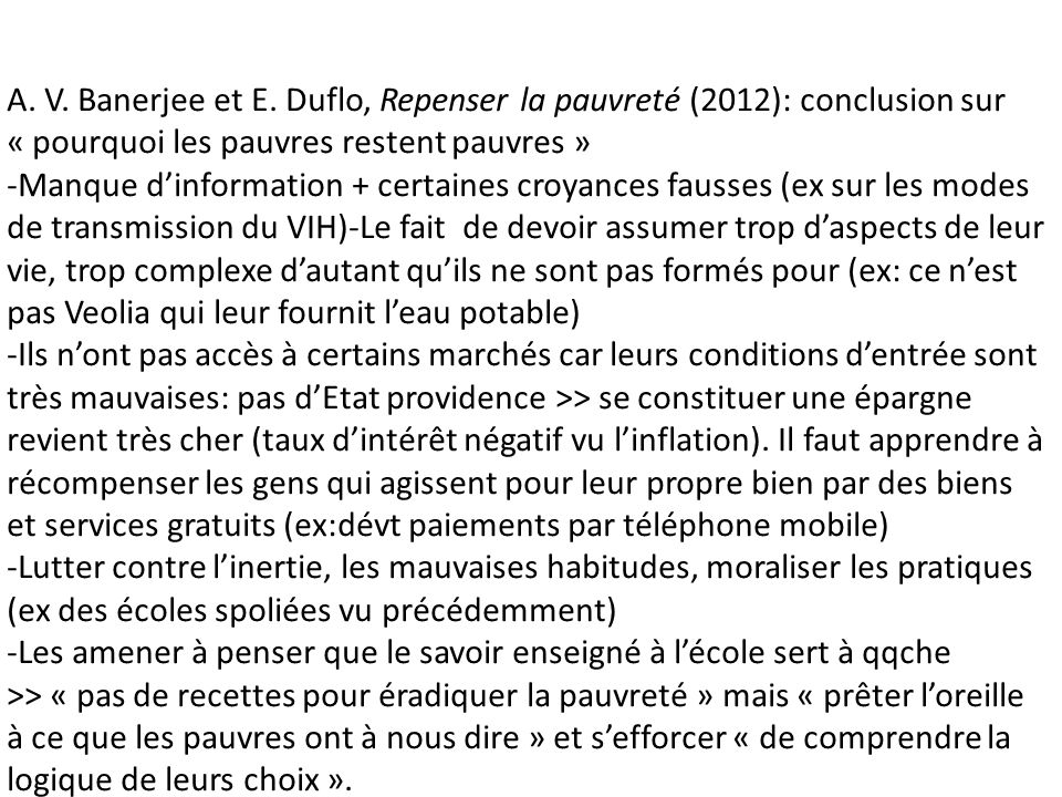 A. V. Banerjee et E. Duflo, Repenser la pauvreté (2012): conclusion sur « pourquoi les pauvres restent pauvres »