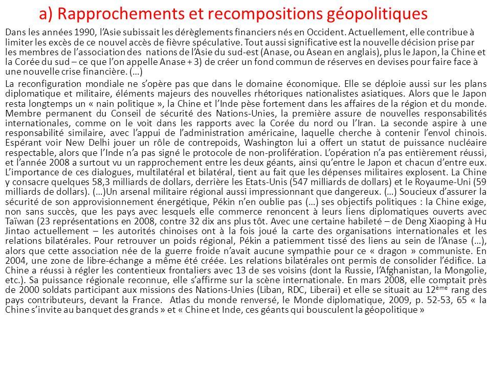 a) Rapprochements et recompositions géopolitiques