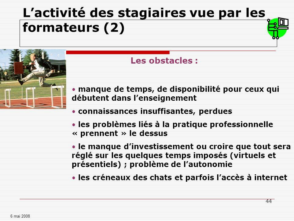 L'activité des stagiaires vue par les formateurs (3)