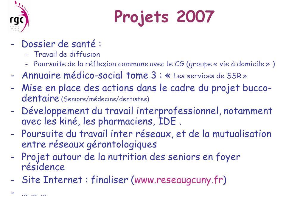 Projets 2007 Dossier de santé :