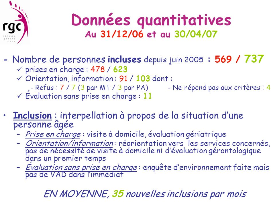 Données quantitatives Au 31/12/06 et au 30/04/07