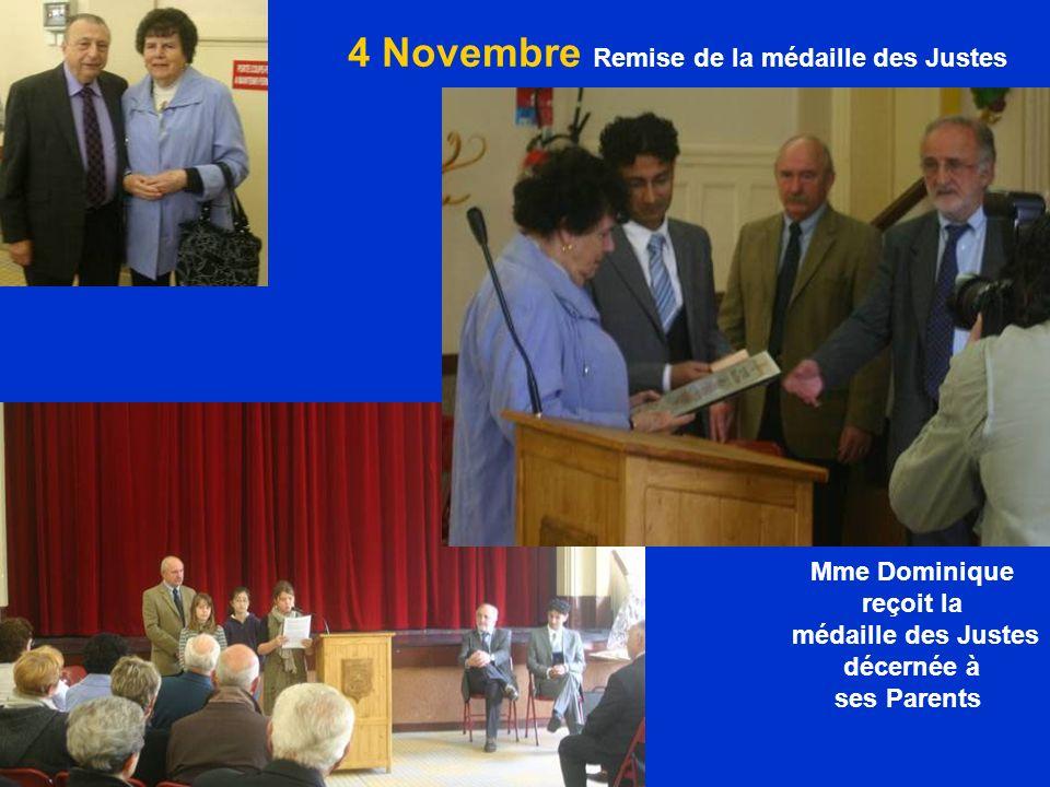 4 Novembre Remise de la médaille des Justes