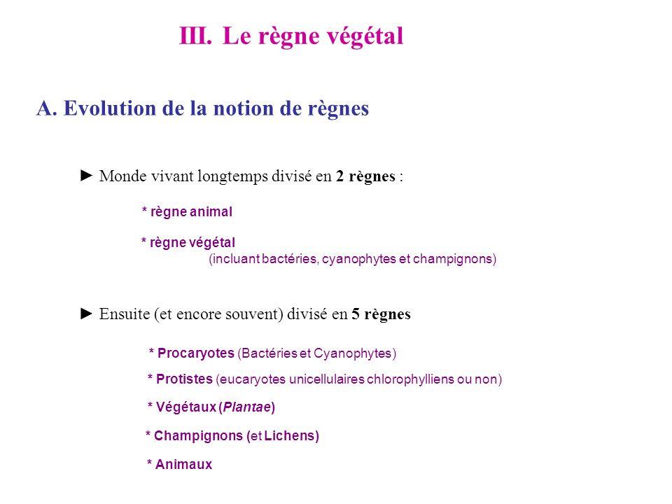 III. Le règne végétal A. Evolution de la notion de règnes