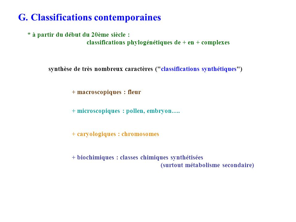 G. Classifications contemporaines
