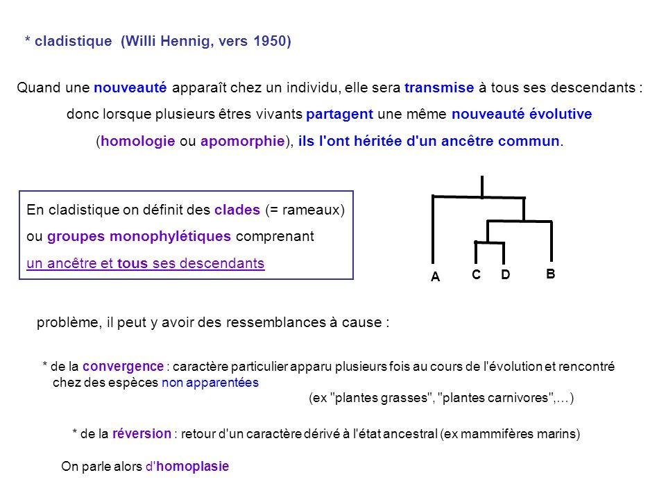 (homologie ou apomorphie), ils l ont héritée d un ancêtre commun.